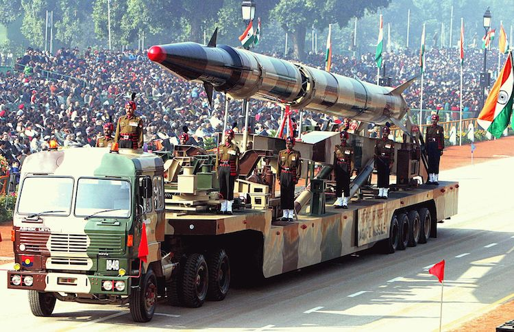 Photo: An Indian Agni-II intermediate range ballistic missile on a road-mobile launcher, displayed at the Republic Day Parade on New Delhi's Rajpath, January 26, 2004. Credit: Wikimedia Commons.