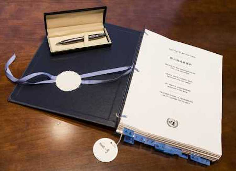 Photo: The Treaty on the Prohibition of Nuclear Weapons, signed 20 September 2017 by 50 United Nations member states. Credit: UN Photo / Paulo Filgueiras