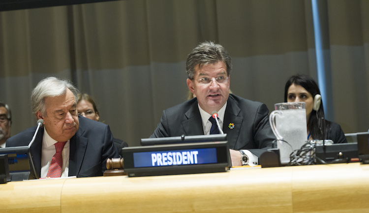 Photo: Miroslav Lajčák (right), President of the 72nd session of the General Assembly, opens the high-level plenary meeting commemorating and promoting the International Day for the Total Elimination of Nuclear Weapons. Secretary-General António Guterres is on the left. 26 September 2017. United Nations, New York. Credit: UN Photo/Rick Bajornas