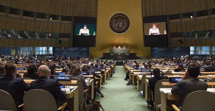 Photo: A view of the General Assembly Hall as Taous Feroukhi (on screen), President of the 2015 Review Conference of the Parties to the NPT, closes the 2015 Review Conference of the Parties to the Treaty on the Non-Proliferation of Nuclear Weapons. 22 May 2015. United Nations, New York. Photo # 631869. UN Photo/Eskinder Debebe.