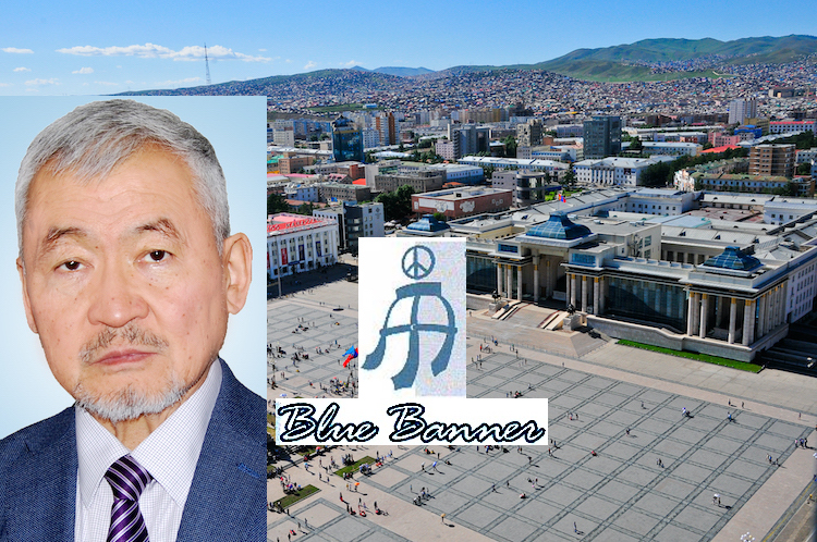 Collage of the photos of Dr J. Enkhsaikhan on the left, Blue Banner and Chinggis Khaan (Sükhbaatar) Square in Mongolia's capital city Ulaanbaatar on the right (CC BY-SA 4.0).