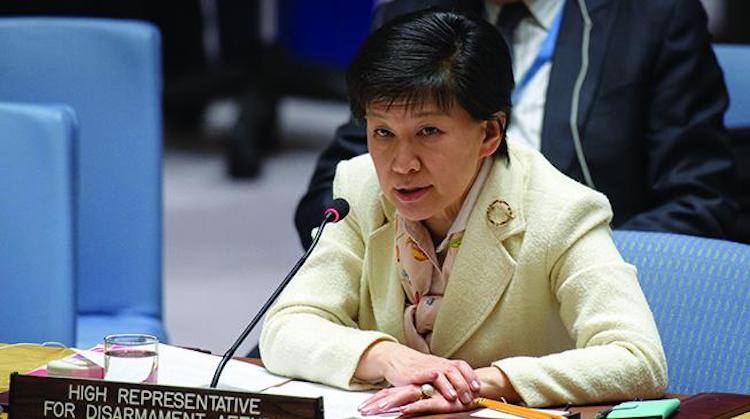 Izumi Nakamitsu, United Nations High Representative for Disarmament Affairs, briefs the Security Council as it considers the situation in the Middle East. 5 February 2018. © UN Photo/Manuel Elias