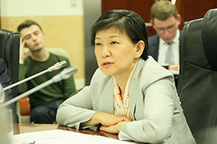 Photo: Izumi Nakamitsu, the High Representative for Disarmament Affairs United Nations (UNODA), addressing the Non-proliferation Studies students on the joint programme between Middlebury Institute of International Studies at Monterey (MIIS), Moscow State Institute of International Relations (MGIMO), and PIR Center, on 19 October 2017 in Moscow. Credit: MGIMO