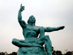 Frontal view of Nagasaki Peace Statue