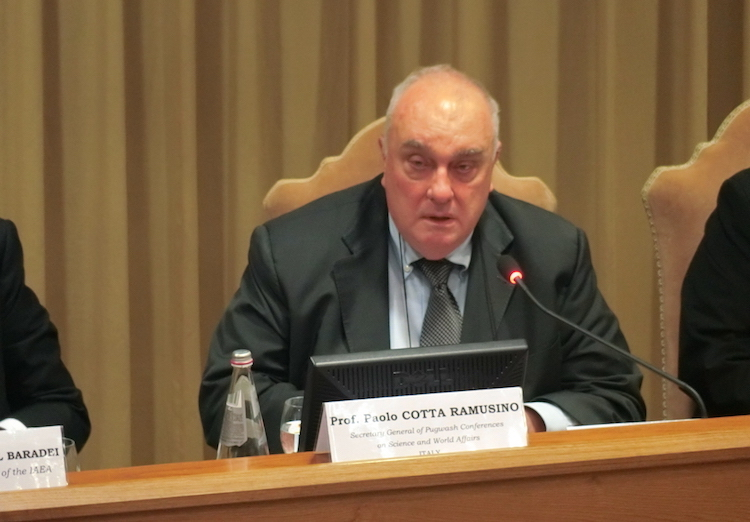 Photo: Paolo Cotta-Ramusino addressing nuclear disarmament conference in Vatican City on November 10, 2017. Credit: Katsuhiro Asagiri