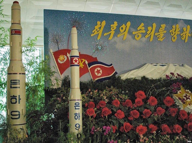 Model of a Unha-9 rocket on display at a floral exhibition in Pyongyang, 30 August 2013 | Credit: Wikimedia Commons
