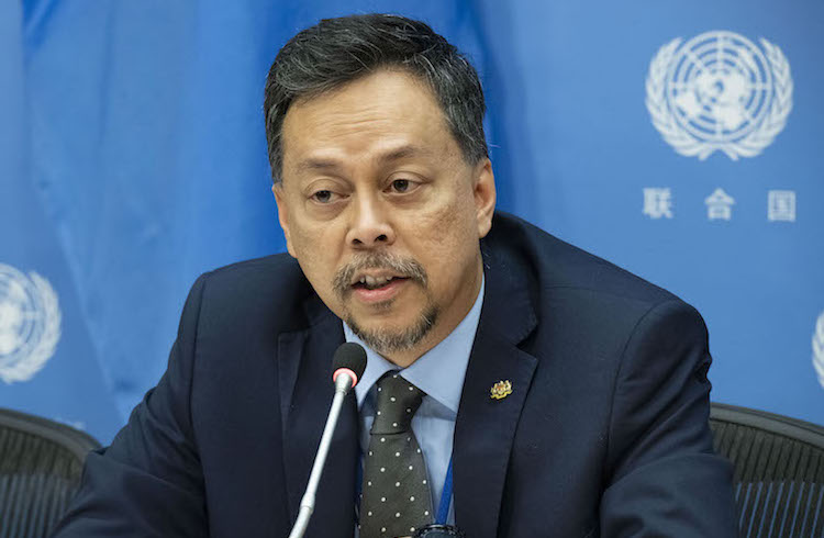 Photo: Syed Hasrin Syed Hussin, Chair of the Third Preparatory Committee for the 2020 Non-Proliferation of Nuclear Weapons (NPT) Review Conference, briefs press on the closing of the third and final session prior to the 2020 Review Conference. 10 May 2019. UN Headquarters, New York. Credit: UN Photo/Evan Schneider