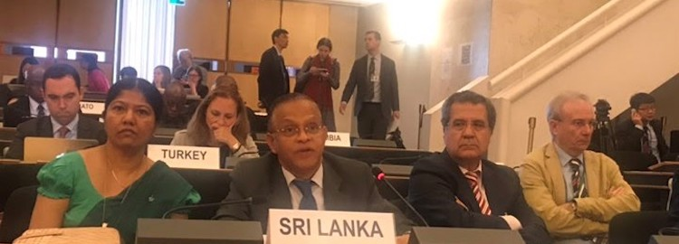 Photo: Ambassador A.L.A. Azeez, Sri Lanka's Permanent Representative (centre front) to the UN in Geneva addressing the Second PrepCom for the NPT Review Conference 2020. Credit: The Sunday Leader.