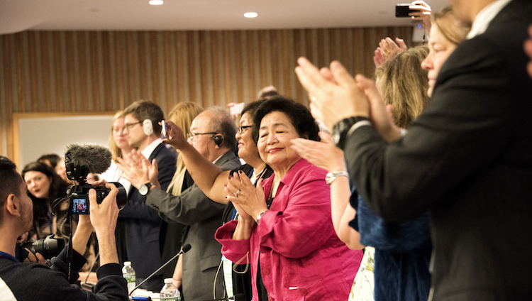 Civil Society Applauds UN nuclear ban treaty adoption 7th July 2017. Credit: Clare Conboy | ICAN.