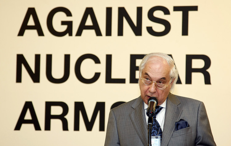 Photo: On 10 August 2009 Sergio Duarte, Under-Secretary-General for Disarmament Affairs, speaks at the opening of the exhibition
