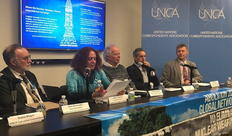 Photo: Western States Legal Foundation Executive Director Jackie Cabasso, second from left, at the press conference at the United Nations on March 28. On her right is John Burroughs, and on her left are: Holger Guessfeld, Gene Seidman and Alyn Ware