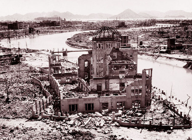 The remains of the Prefectural Industry Promotion Building, later preserved as a monument - known as the Genbaku Dome - at the Hiroshima Peace Memorial. UN Photo