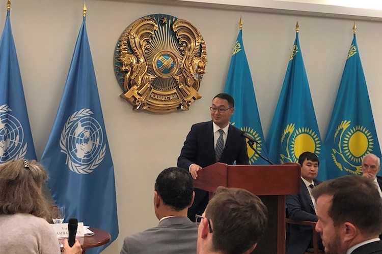 Photo: Yerzhan Ashikbayev, the Deputy Foreign Minister of Kazakhstan, chairing a side event at the Kazakh Permanent Mission to the UN in New York. Source: UNODA