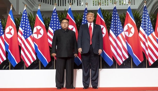 Photo: North Korean leader Kim Jong Un and President Donald Trump at the Singapore Summit on June 12, 2018. Source: @Scavino45 of Dan Scavino Jr., the White House Director of Social Media and Assistant to the President.