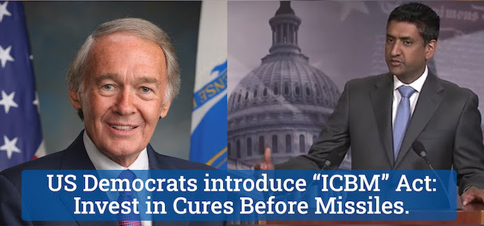 Photo: US Democrats—Senators Markey and Khanna—introduce ICBM Act: Invest in Cures Before Missiles. Credit: UNFOLD ZERO | PNND.