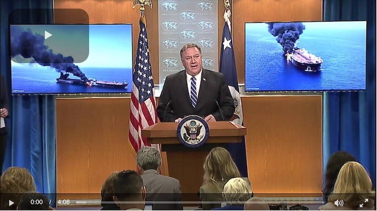 Photo: Screenshot of U.S. Secretary of State Michael R. Pompeo briefing the press in Washington, DC on June 13, 2019. Credit: U.S. State Department