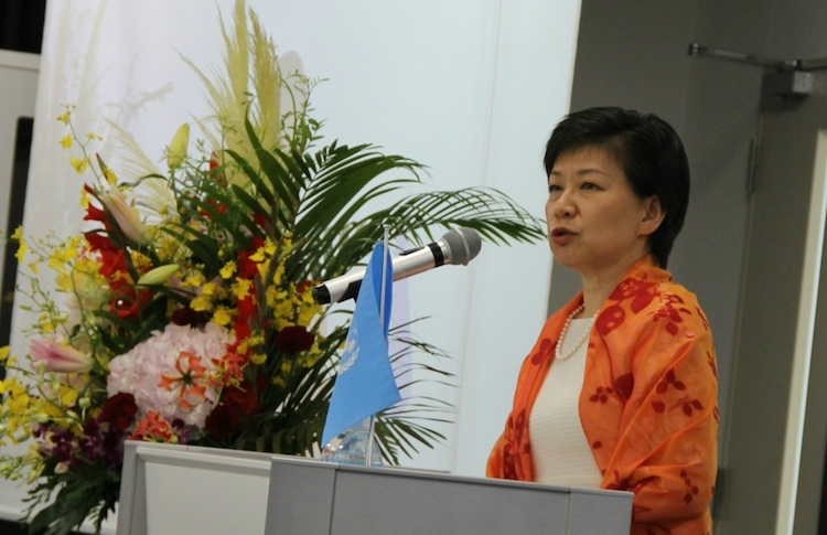 Photo: Izumi Nakamitsu speaking at Hiroshima University on 'Challenges for Disarmament in 21 century' on August 6, 2018. Credit: UNODA
