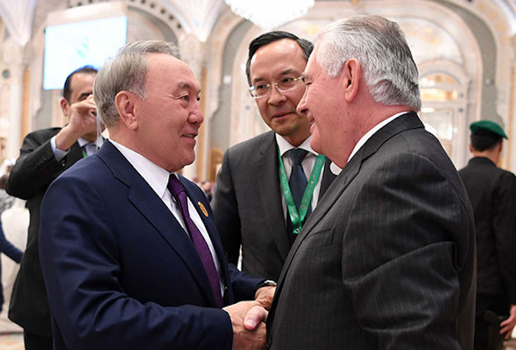 Photo (left to right): Kazakh President Nursultan Nazarbayev, Kazakh Foreign Minister Kairat Abdrakhmanov, U.S. Secretary of State Rex Tillerson on the sidelines of the US-Islamic World summit in Riyadh in May 2017. Credit: Axar.az