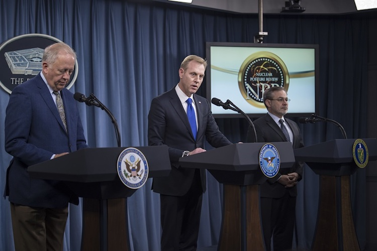 Photo: Deputy Defense Secretary Patrick M. Shanahan, center, Undersecretary of State for Political Affairs Thomas A. Shannon Jr., left, and Deputy Energy Secretary Dan Brouillette brief the press on the 2018 Nuclear Posture Review at the Pentagon, Feb. 2, 2018. DoD photo by Navy Petty Officer 1st Class Kathryn E. Holm