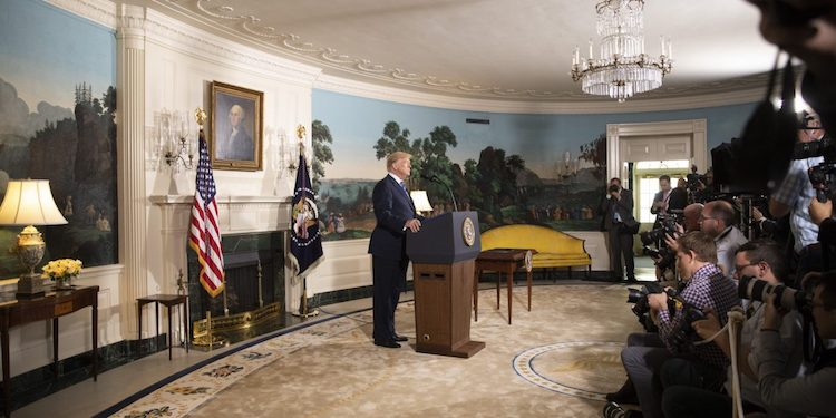 Photo: Trump ending U.S. participation in Iran Nuclear Deal. Credit: White House.