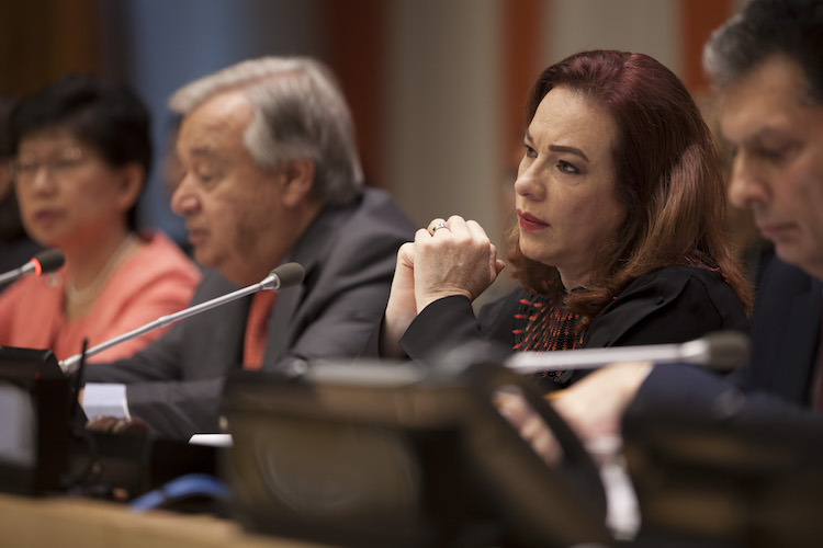 Photo: María Fernanda Espinosa Garcés (centre right), President of the 73rd session of the General Assembly, listens as Secretary-General António Guterres (centre left) addresses the high-level plenary meeting to commemorate and promote the International Day for the Total Elimination of Nuclear Weapons (26 September). At left is Izumi Nakamitsu, Under-Secretary-General and High Representative for Disarmament Affairs (ODA). UN Photo/Ariana Lindquist