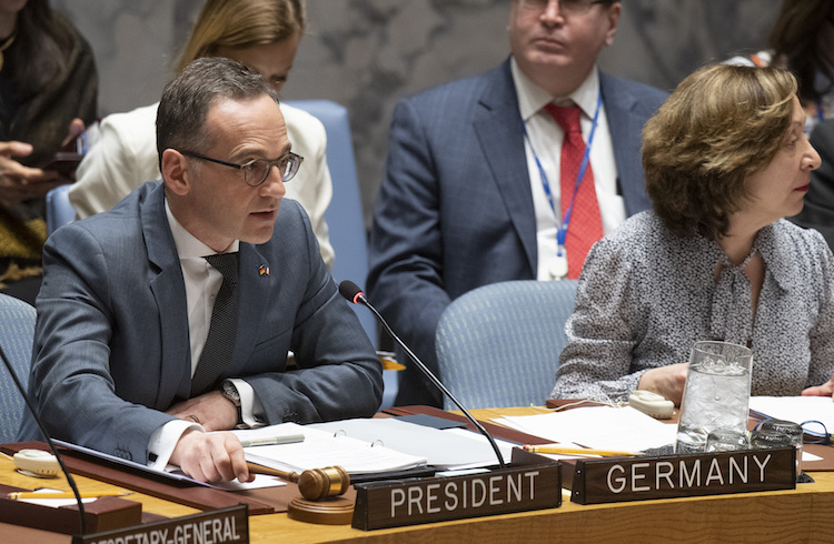 Photo: German Foreign Affairs Minister Heiko Maas chairs the Security Council meeting on Non-proliferation and supporting the Non-proliferation Treaty ahead of the 2020 Review Conference. 02 April 2019. United Nations, New York. Photo # 802676. UN Photo/Eskinder Debebe.