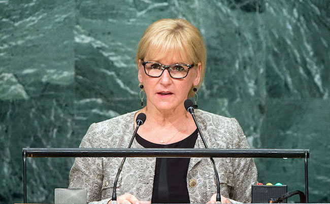 A staunch supporter of nuclear disarmament, Foreign Minister Margot Wallström of Sweden addressing the UN General Assembly's seventy-first session in September 2016. UN Photo/Manuel Elias